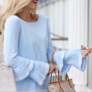 Sweaters - Blue, Bell Sleeve Sweater